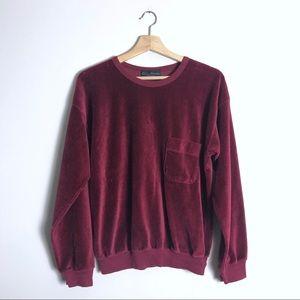 Vintage 80s Velour pocket sweatshirt